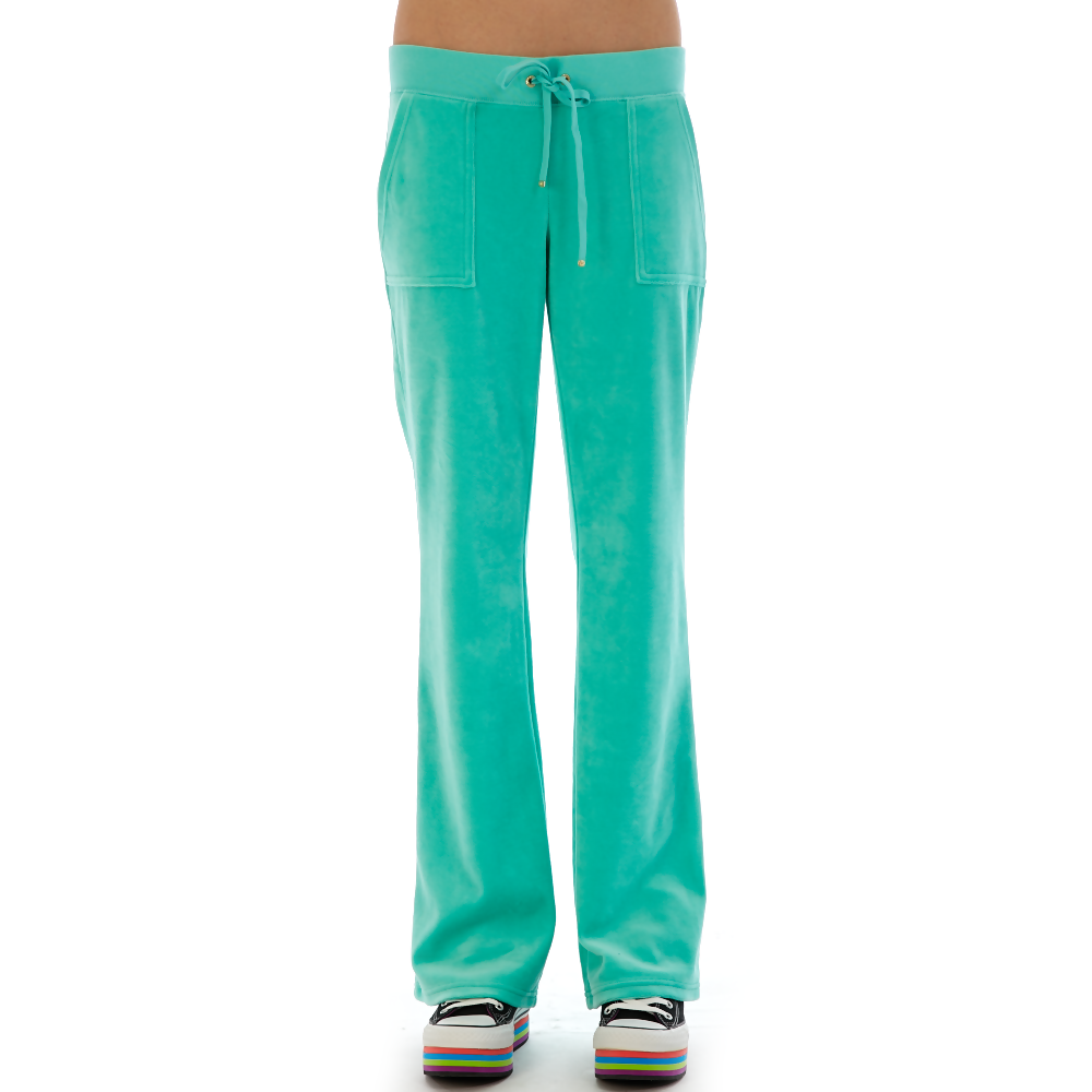 JUICY COUTURE - Γυναικείο παντελόνι Juicy Couture τυρκουάζ γυναικεία ρούχα παντελόνια casual