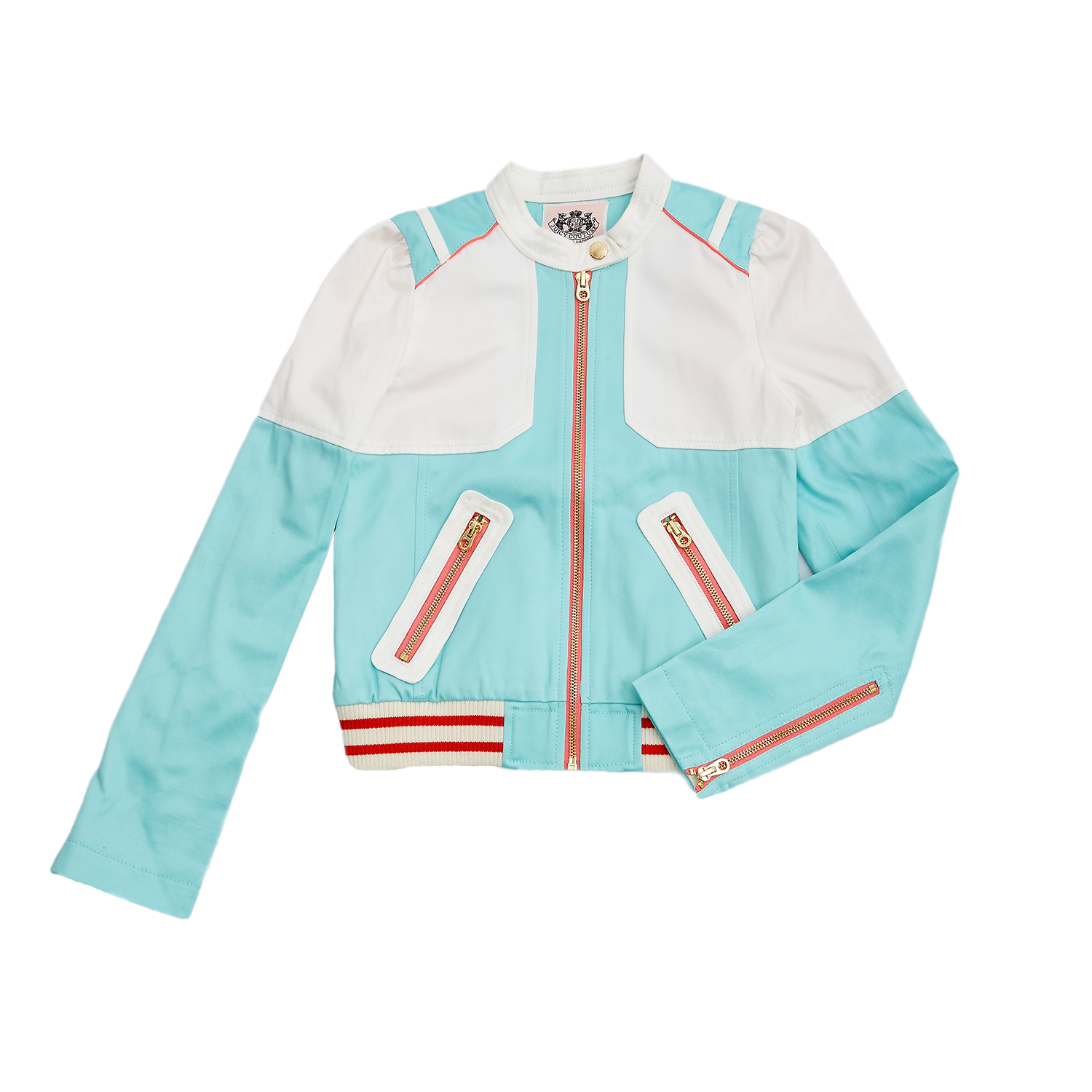 JUICY COUTURE KIDS - Παιδικό μπουφάν Juicy Couture λευκό-τυρκουάζ 19b0a14564a