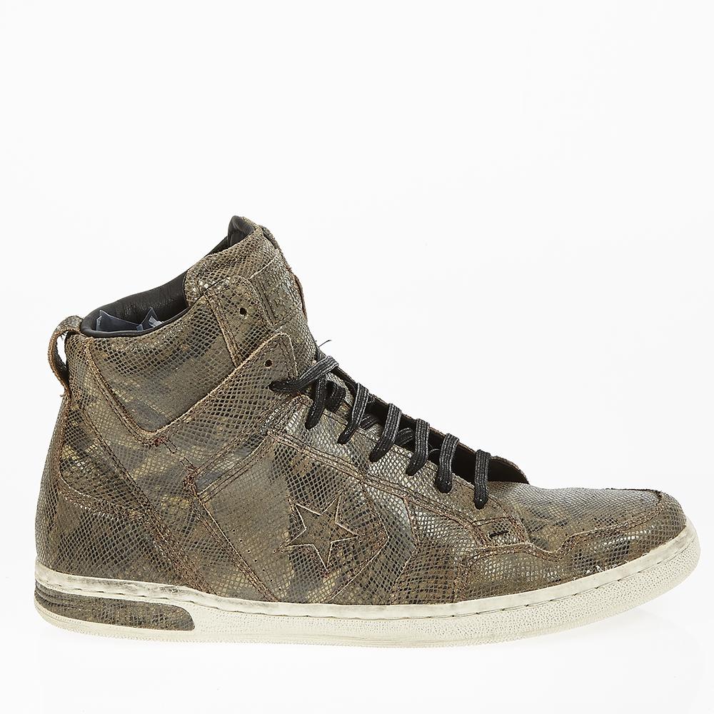 CONVERSE - Unisex δερμάτινα μποτάκια John Varvatos καφέ ανδρικά παπούτσια sneakers