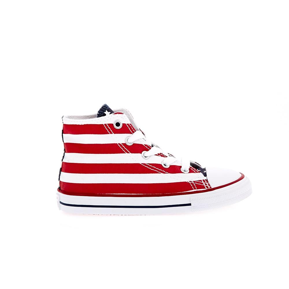 CONVERSE – Βρεφικά μποτάκια Chuck Taylor All Star Print Hi λευκά-κόκκινα