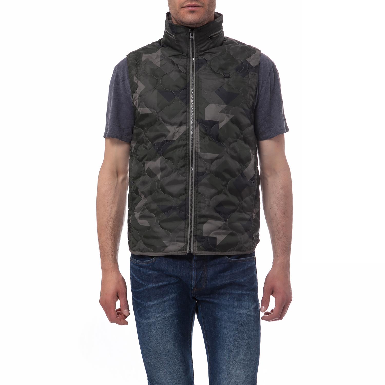 G-STAR RAW - Ανδρικό μπουφάν G-Star Raw χακί ανδρικά ρούχα πουκάμισα κοντομάνικα αμάνικα