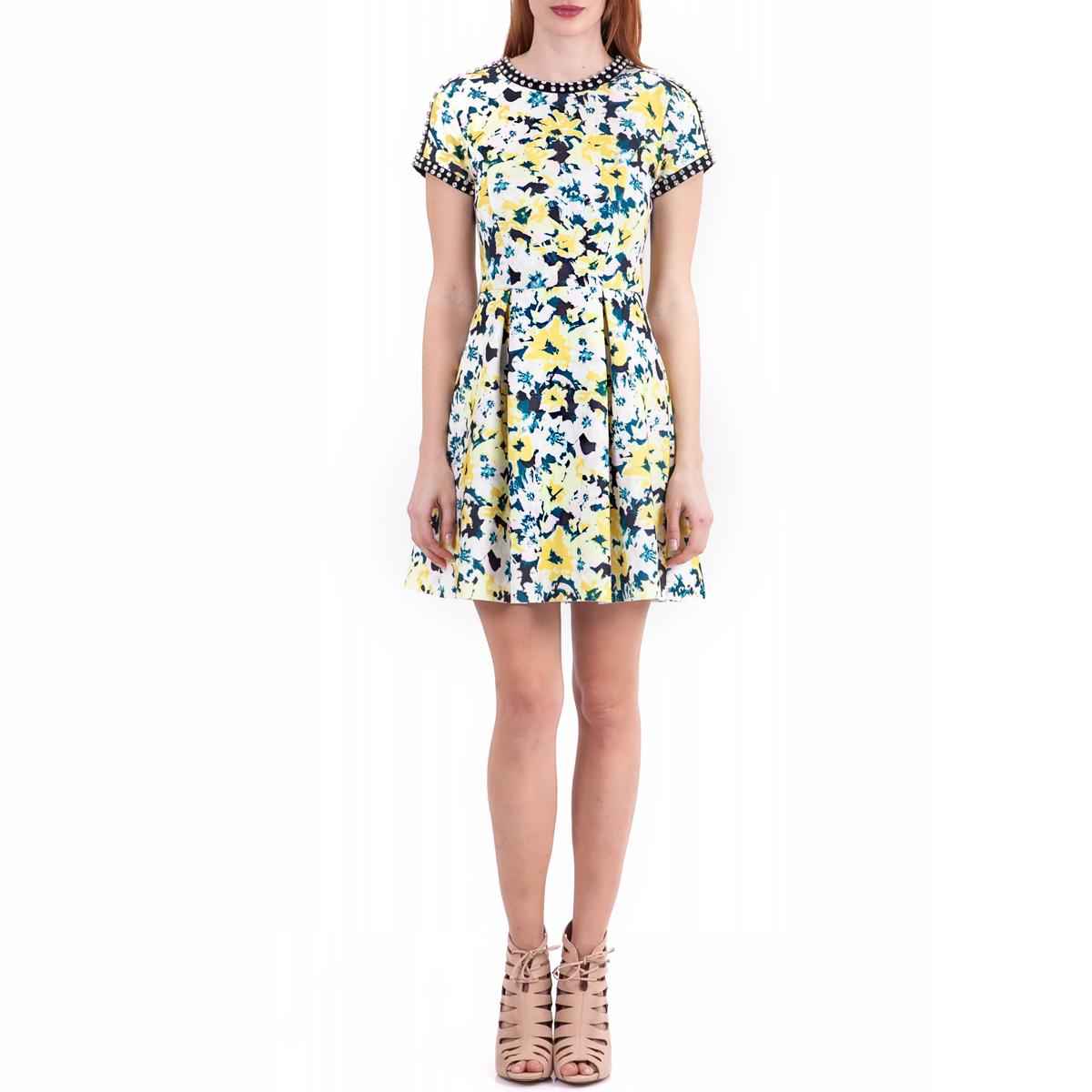 JUICY COUTURE - Γυναικείο φόρεμα Juicy Couture μαύρο-κίτρινο γυναικεία ρούχα φορέματα μίνι