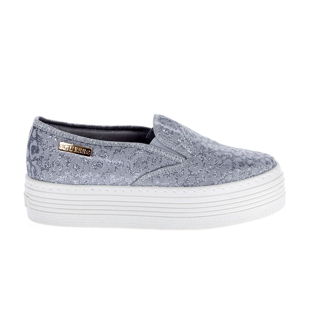 GUESS - Γυναικεία slip on παπούτσια Guess γκρι γυναικεία παπούτσια μοκασίνια μπαλαρίνες μοκασίνια