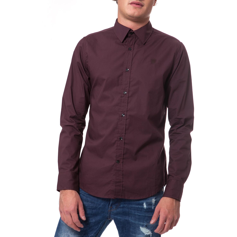 G-STAR RAW - Ανδρικό πουκάμισο G-Star Raw μπορντώ ανδρικά ρούχα πουκάμισα μακρυμάνικα