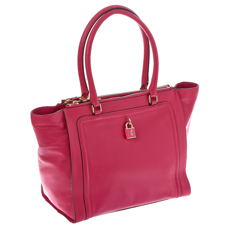 JUICY COUTURE - Δερμάτινη τσάντα Juicy Couture φούξια γυναικεία αξεσουάρ τσάντες σακίδια χειρός