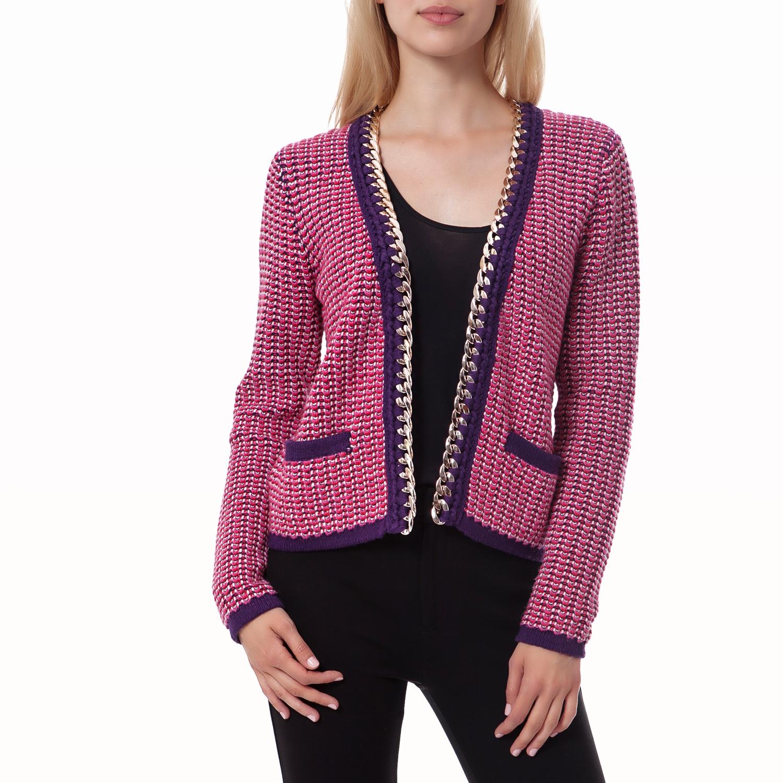 JUICY COUTURE - Γυναικεία ζακέτα Juicy Couture μωβ-φούξια γυναικεία ρούχα πλεκτά ζακέτες ζακέτες