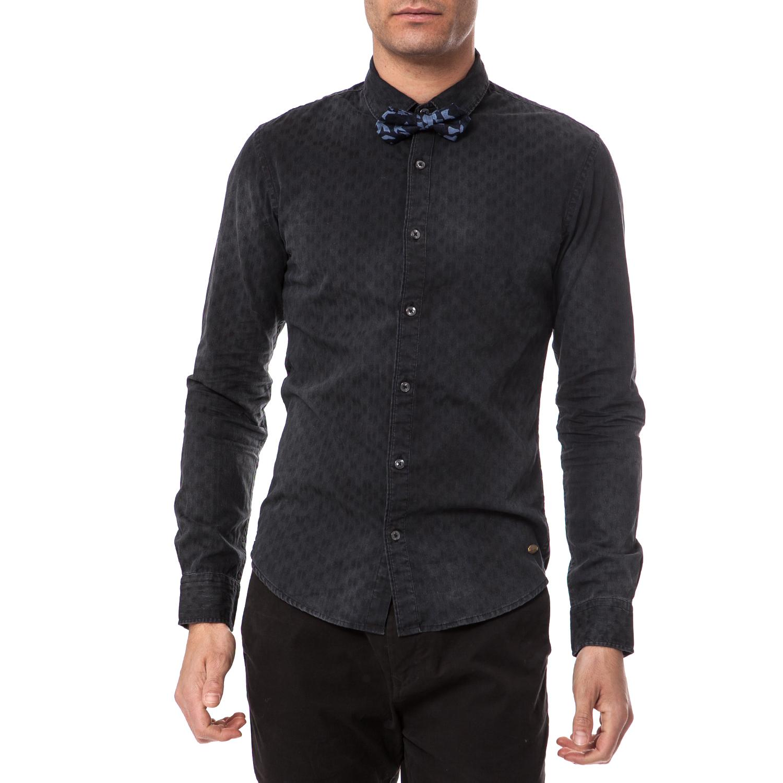 SCOTCH & SODA - Ανδρικό πουκάμισο Scotch & Soda μαύρο μακρυμάνικο