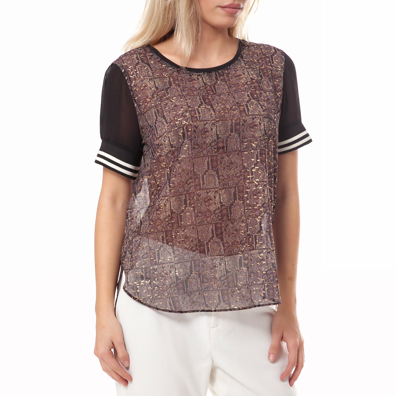 MAISON SCOTCH - Γυναικεία μπλούζα Maison Scotch καφέ-μαύρη γυναικεία ρούχα μπλούζες t shirt