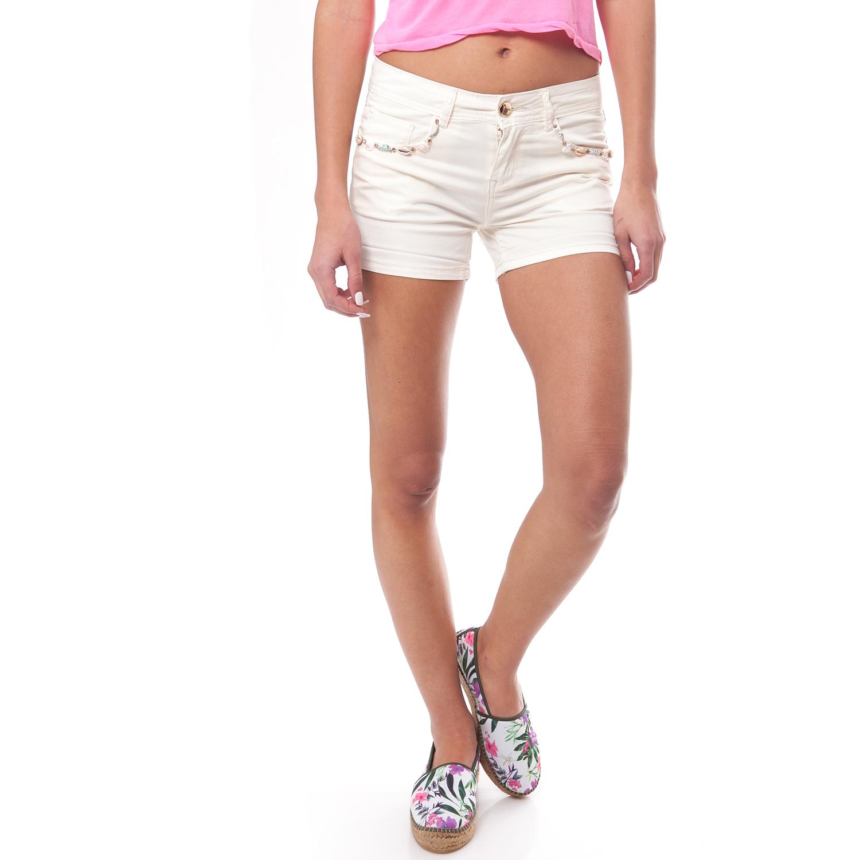 MOLLY BRACKEN - Γυναικείο σορτς MOLLY BRACKEN εκρού γυναικεία ρούχα σορτς βερμούδες casual jean