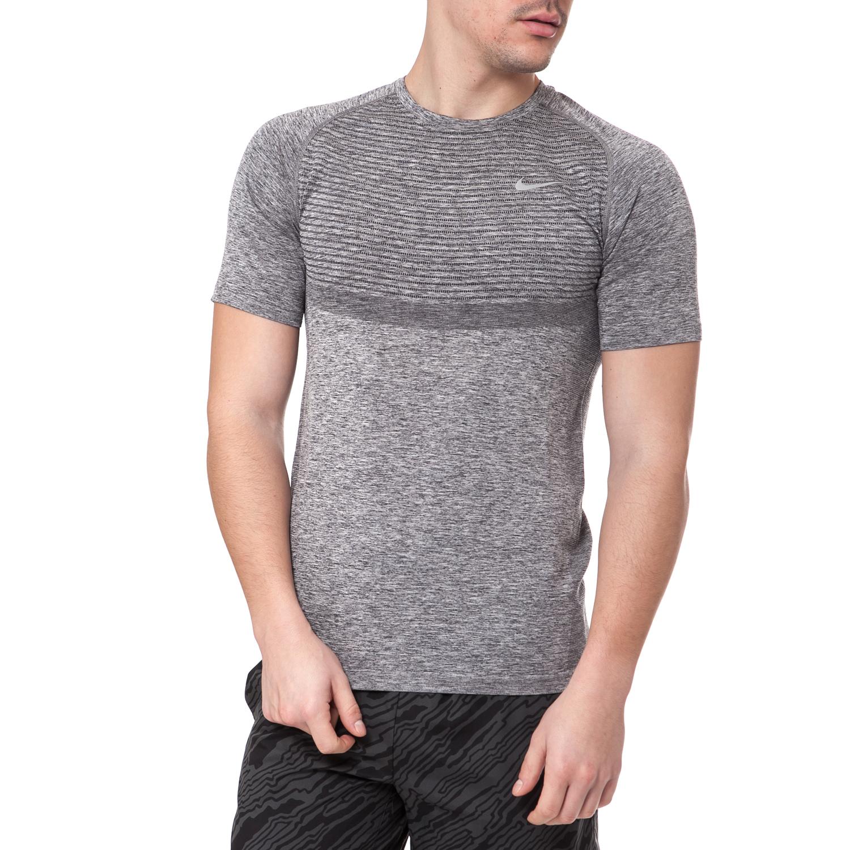 NIKE - Ανδρικό t-shirt NIKE DRI-FIT KNIT γκρι ανδρικά ρούχα αθλητικά t shirt