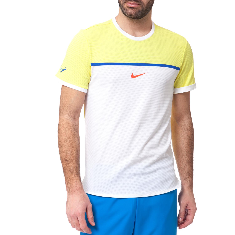 NIKE - Ανδρική μπλούζα NIKE λευκή-κίτρινη ανδρικά ρούχα αθλητικά t shirt