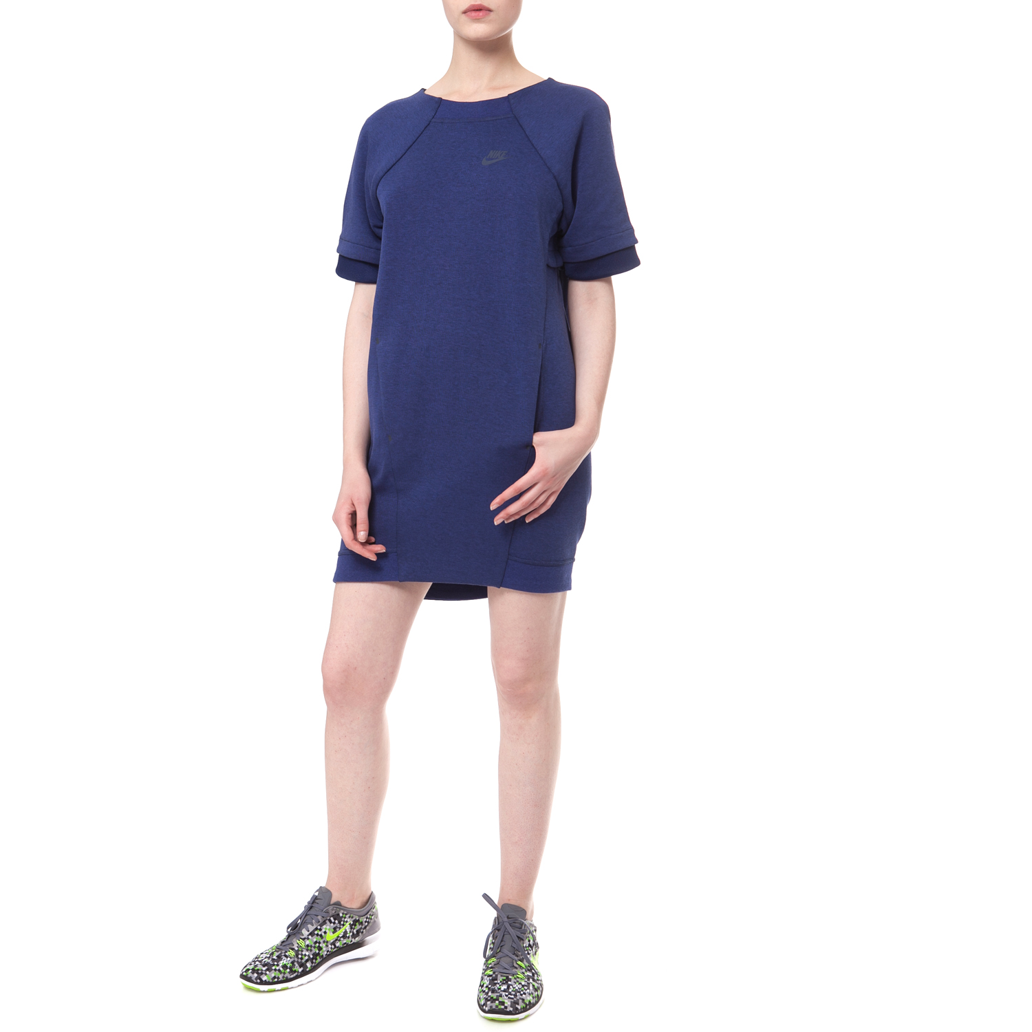 NIKE - Φόρεμα Nike TECH FLEECE DRESS-MESH μπλε μίνι