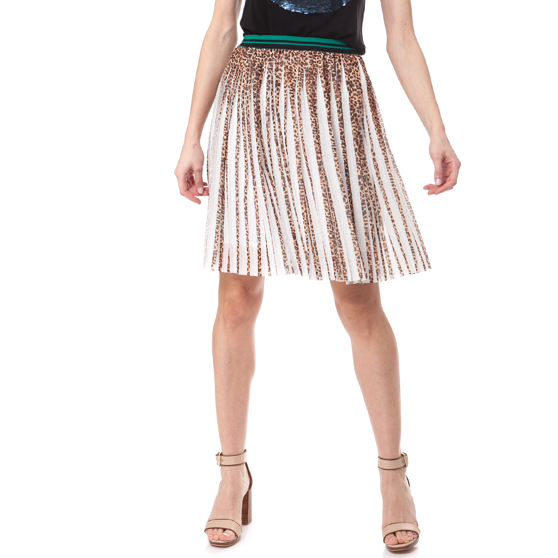 GUESS - Γυναικεία φούστα Guess μπεζ-καφέ γυναικεία ρούχα φούστες μέχρι το γόνατο