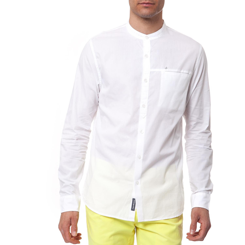 CALVIN KLEIN JEANS - Ανδρικό πουκάμισο Calvin Klein Jeans λευκό μακρυμάνικο