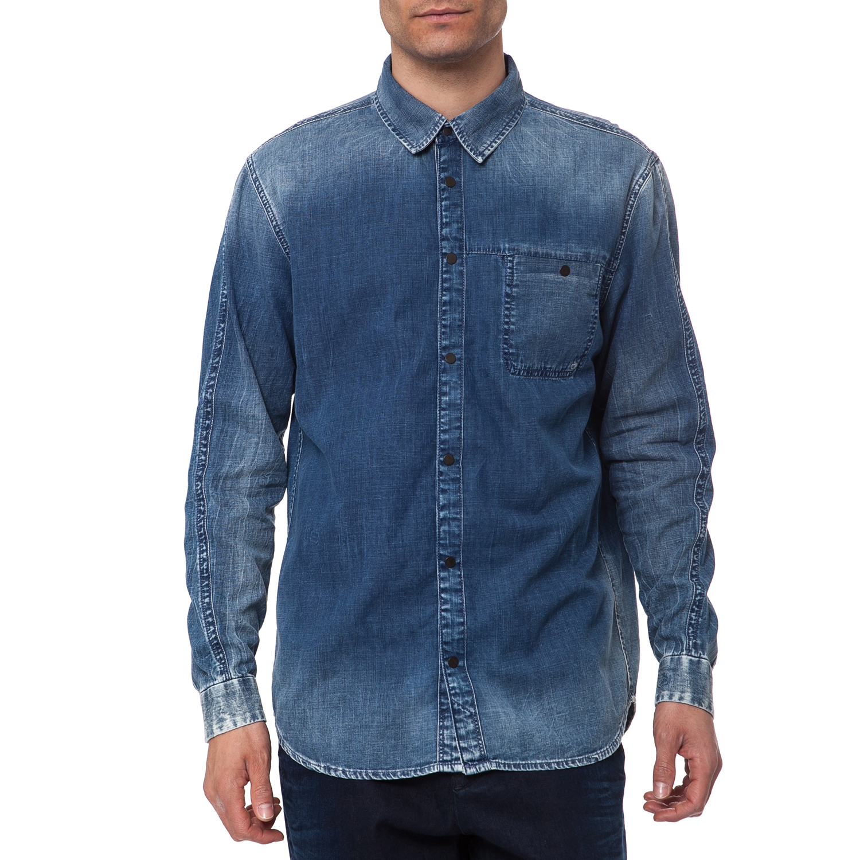 CALVIN KLEIN JEANS - Ανδρικό πουκάμισο Calvin Klein Jeans μπλε μακρυμάνικο