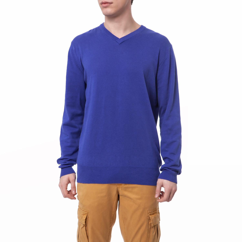 FUNKY BUDDHA - Ανδρικό πουλόβερ Funky Buddha μπλε ανδρικά ρούχα πλεκτά ζακέτες μπλούζες