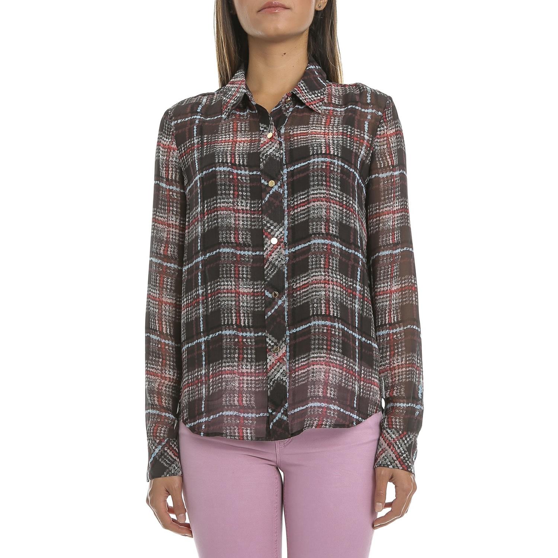 JUICY COUTURE - Γυναικείο πουκάμισο JUICY KRONBERG PLAID BLOUSE καρό μαύρο-κόκκι γυναικεία ρούχα πουκάμισα μακρυμάνικα