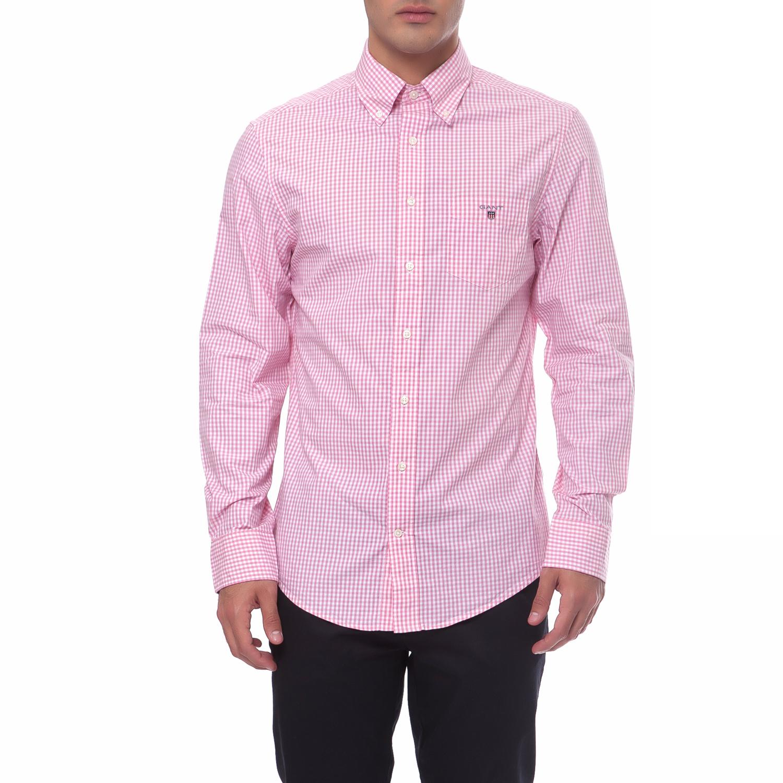 GANT - Ανδρικό πουκάμισο Gant ροζ ανδρικά ρούχα πουκάμισα μακρυμάνικα