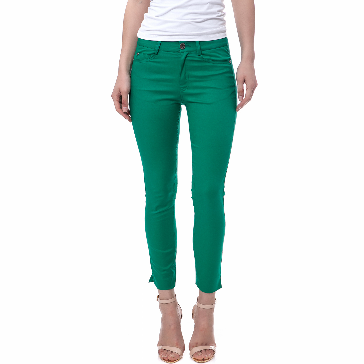 TEA & ROSE - Γυναικείο παντελόνι Tea & Rose πράσινο γυναικεία ρούχα παντελόνια casual