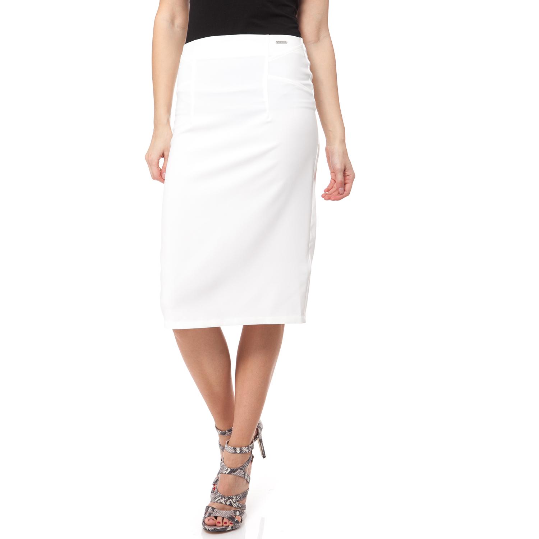 GUESS - Γυναικεία φούστα Guess λευκή γυναικεία ρούχα φούστες μέχρι το γόνατο