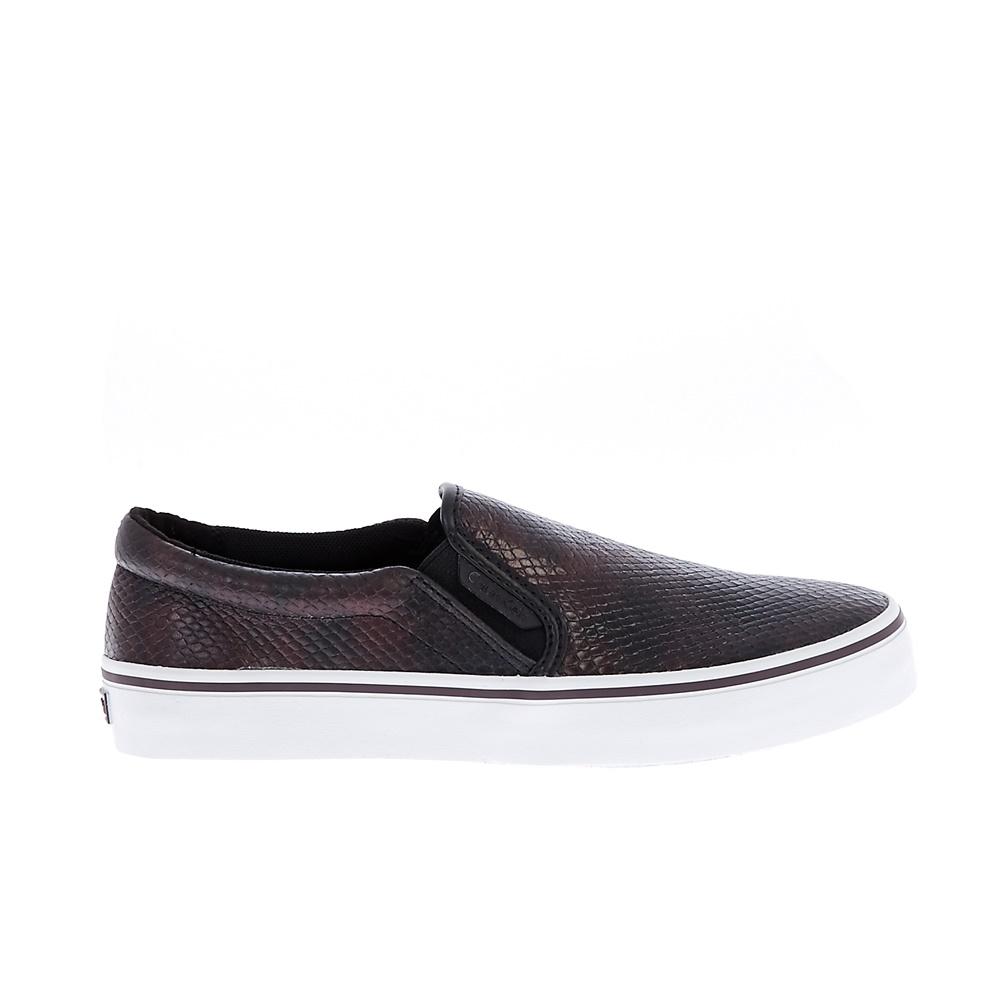 CALVIN KLEIN JEANS – Γυναικεία slip-on sneakers CALVIN KLEIN JEANS PRESLEY IRIDE καφέ μεταλλικό