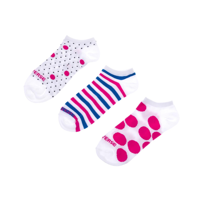 CONVERSE – Γυναικείο σετ κάλτσες CONVERSE άσπρες-μπλε-ροζ