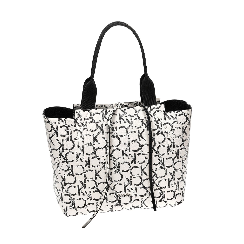 CALVIN KLEIN JEANS – Γυναικεία τσάντα CALVIN KLEIN JEANS άσπρη-μαύρη 1522670.0-0508