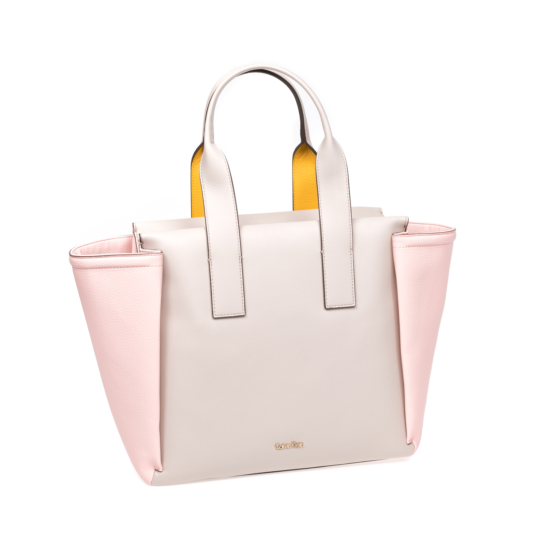 CALVIN KLEIN JEANS - Γυναικεία τσάντα Calvin Klein Jeans μπεζ-ροζ γυναικεία αξεσουάρ τσάντες σακίδια χειρός