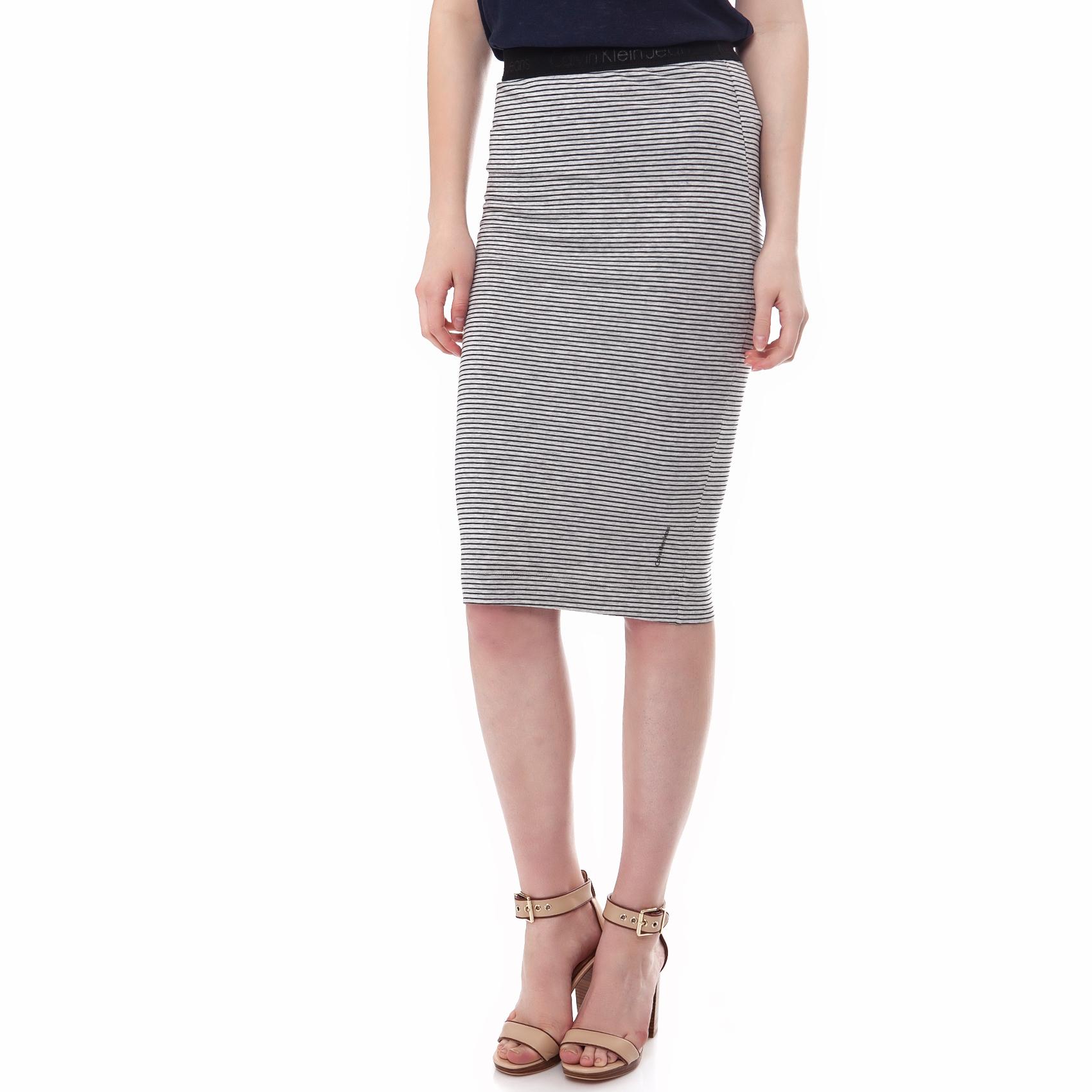 CALVIN KLEIN JEANS - Γυναικεία φούστα Calvin Klein Jeans γκρι-μαύρη γυναικεία ρούχα φούστες μέχρι το γόνατο