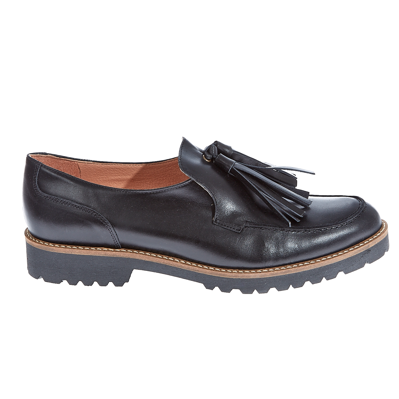 CHANIOTAKIS - Γυναικεία loafers Chaniotakis μαύρα γυναικεία παπούτσια μοκασίνια μπαλαρίνες μοκασίνια
