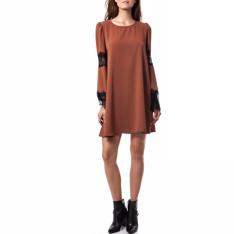 TEA & ROSE - Γυναικείο φόρεμα Tea & Rose καφέ γυναικεία ρούχα φορέματα μίνι