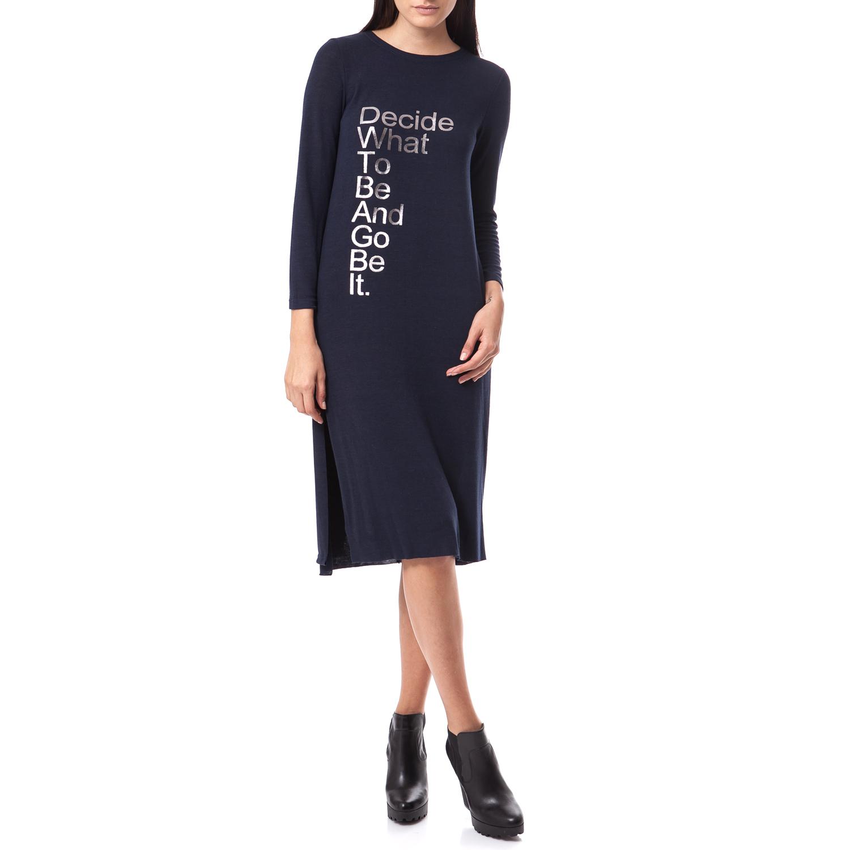FEEL CUTE - Γυναικείο φόρεμα Feel Cute μπλε γυναικεία ρούχα φορέματα μέχρι το γόνατο