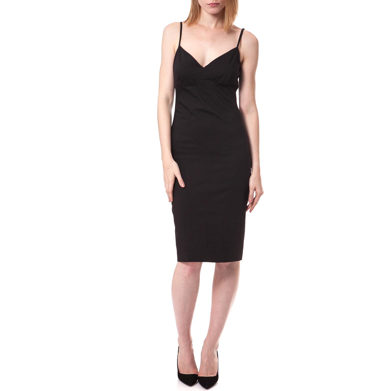 TEA & ROSE - Γυναικείο φόρεμα Tea & Rose μαύρο γυναικεία ρούχα φορέματα μέχρι το γόνατο