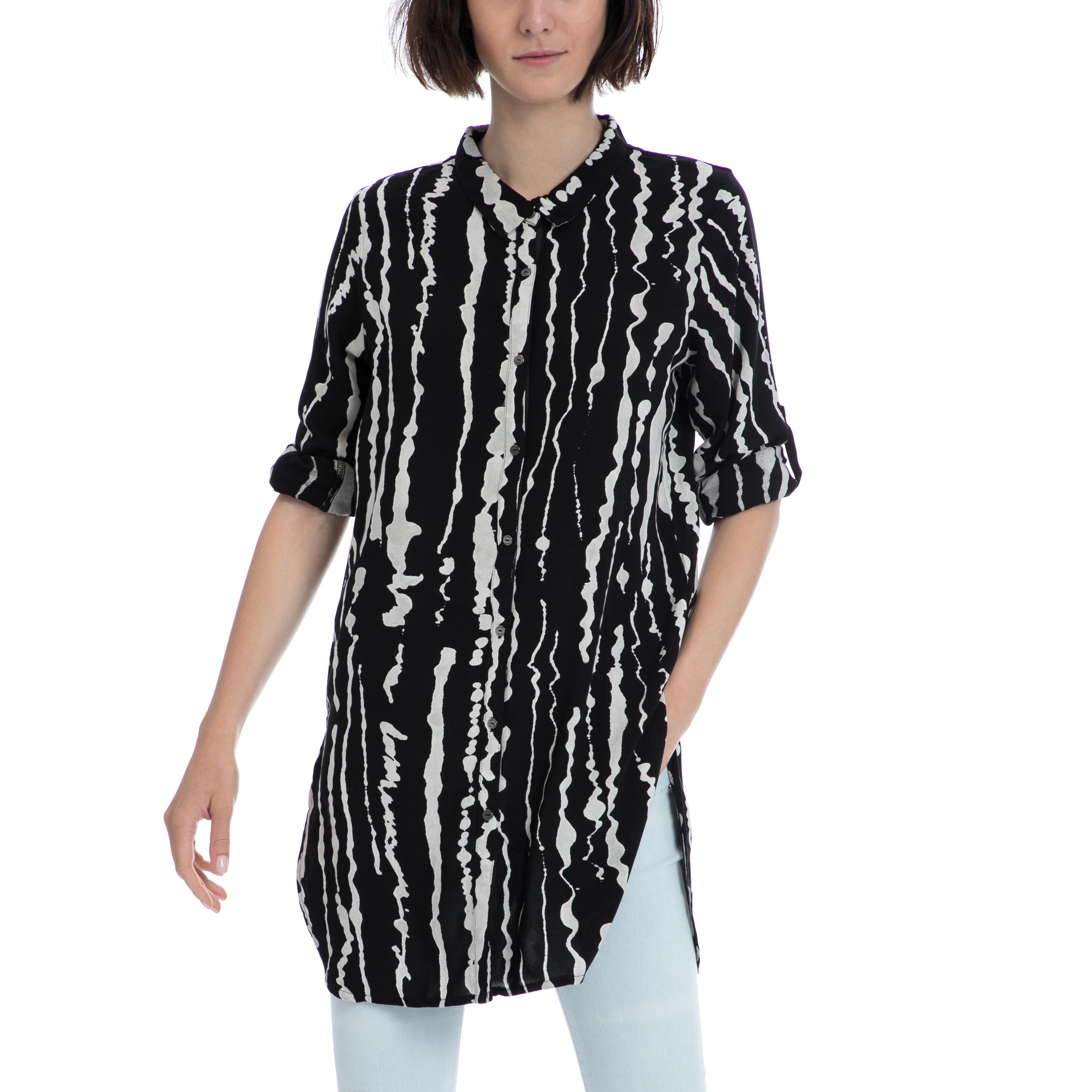 GARCIA JEANS - Γυναικεία πουκαμίσα Garcia Jeans μαύρη γυναικεία ρούχα πουκάμισα πουκαμίσες