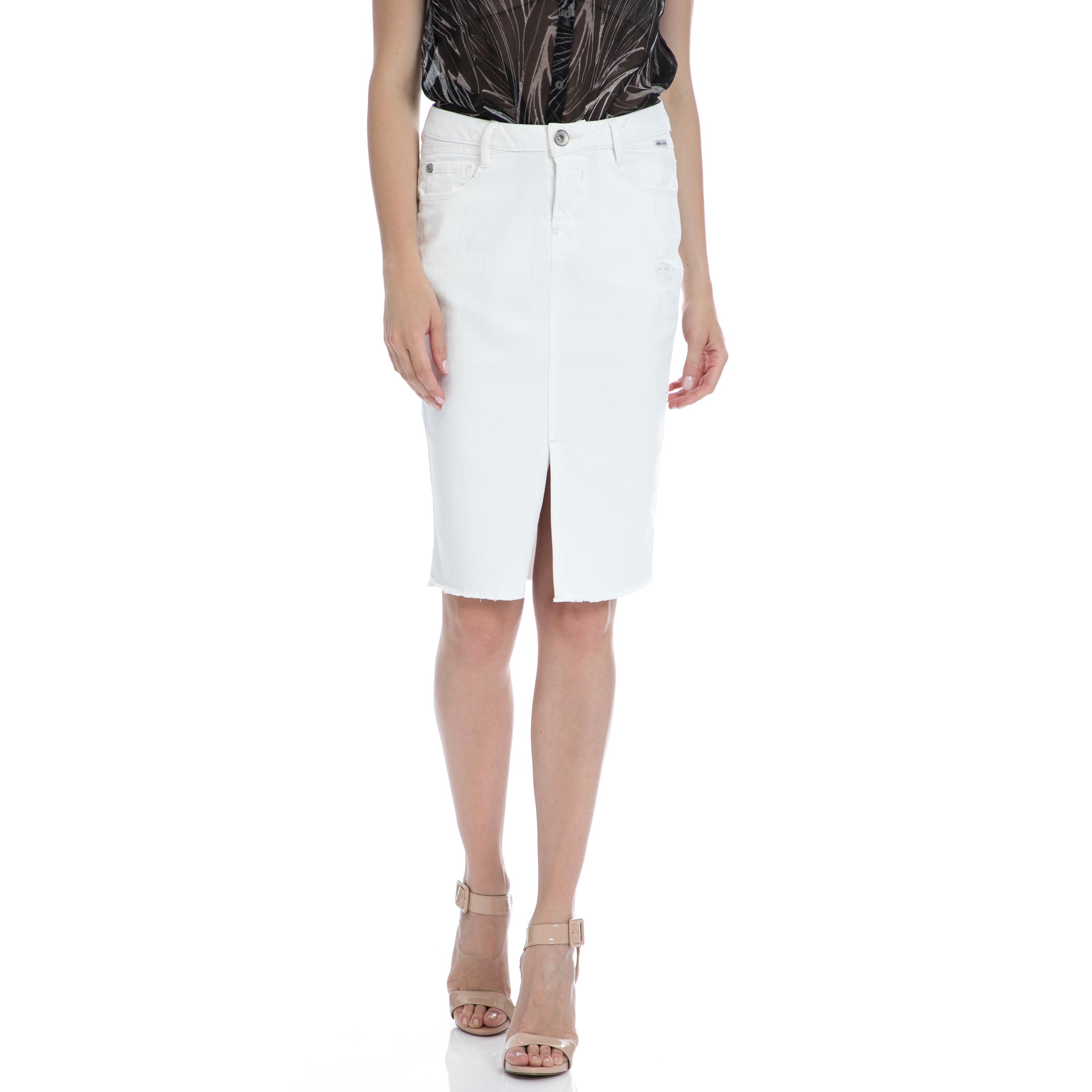 GARCIA JEANS - Γυναικεία φούστα Garcia Jeans λευκή γυναικεία ρούχα φούστες μέχρι το γόνατο