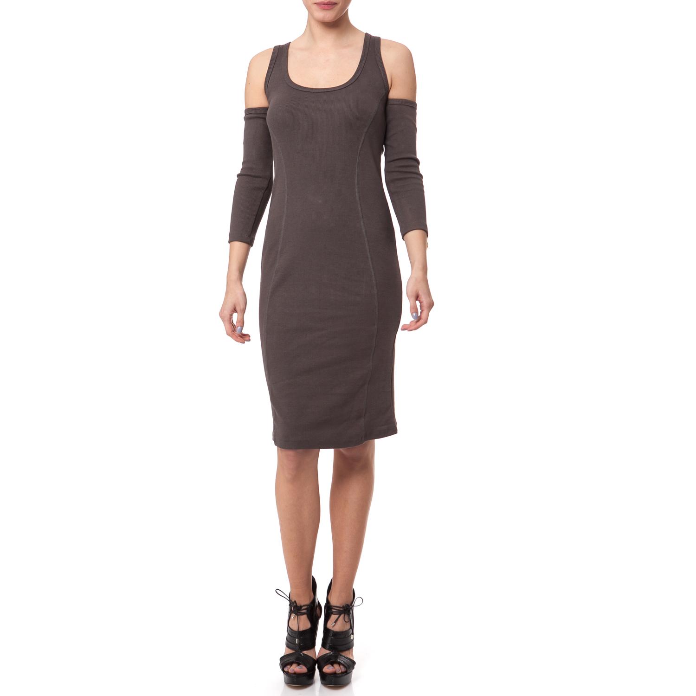 MYMOO - Γυναικείο φόρεμα MYMOO καφέ γυναικεία ρούχα φορέματα μέχρι το γόνατο