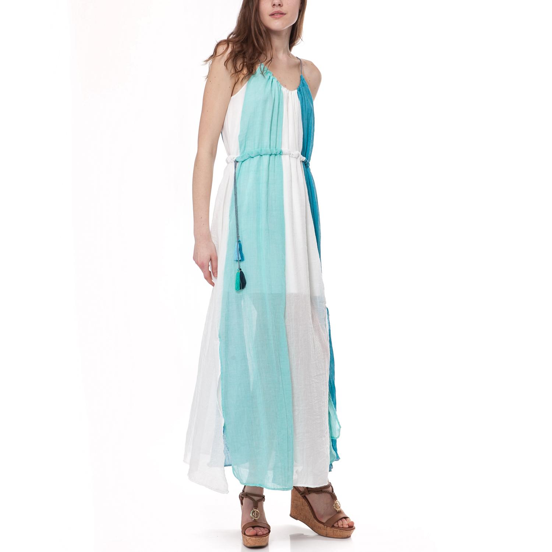 MYMOO - Γυναικείο φόρεμα MYMOO λευκό-μπλε γυναικεία ρούχα φορέματα μάξι