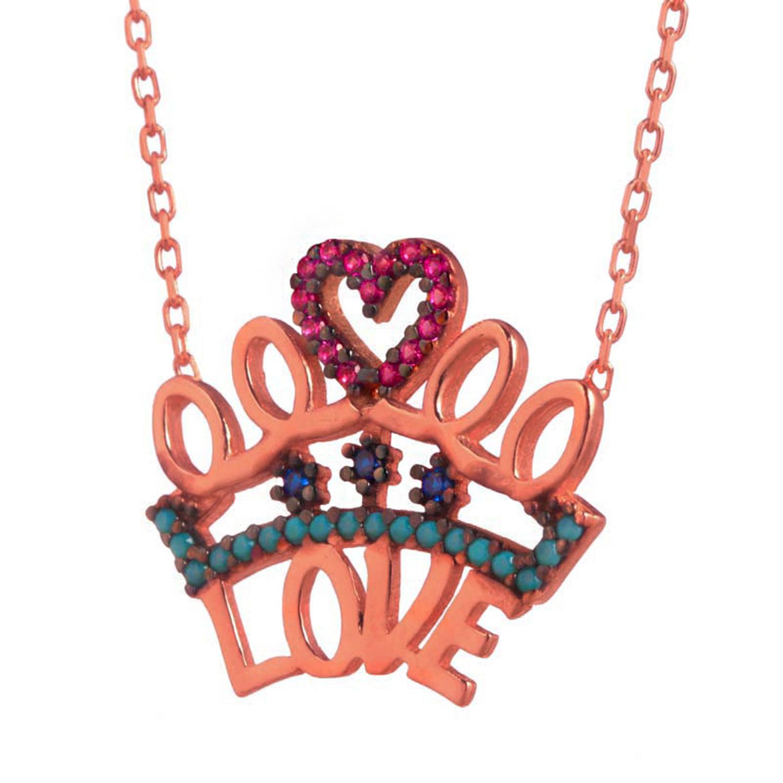 JEWELTUDE – Ασημένιο ρόζ επιχρυσωμένο κολιέ Κορώνα Love
