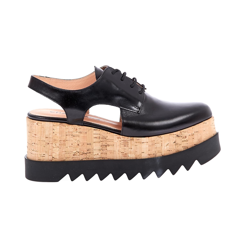 CHANIOTAKIS - Γυναικείες πλατφόρμες Chaniotakis μαύρες γυναικεία παπούτσια πλατφόρμες