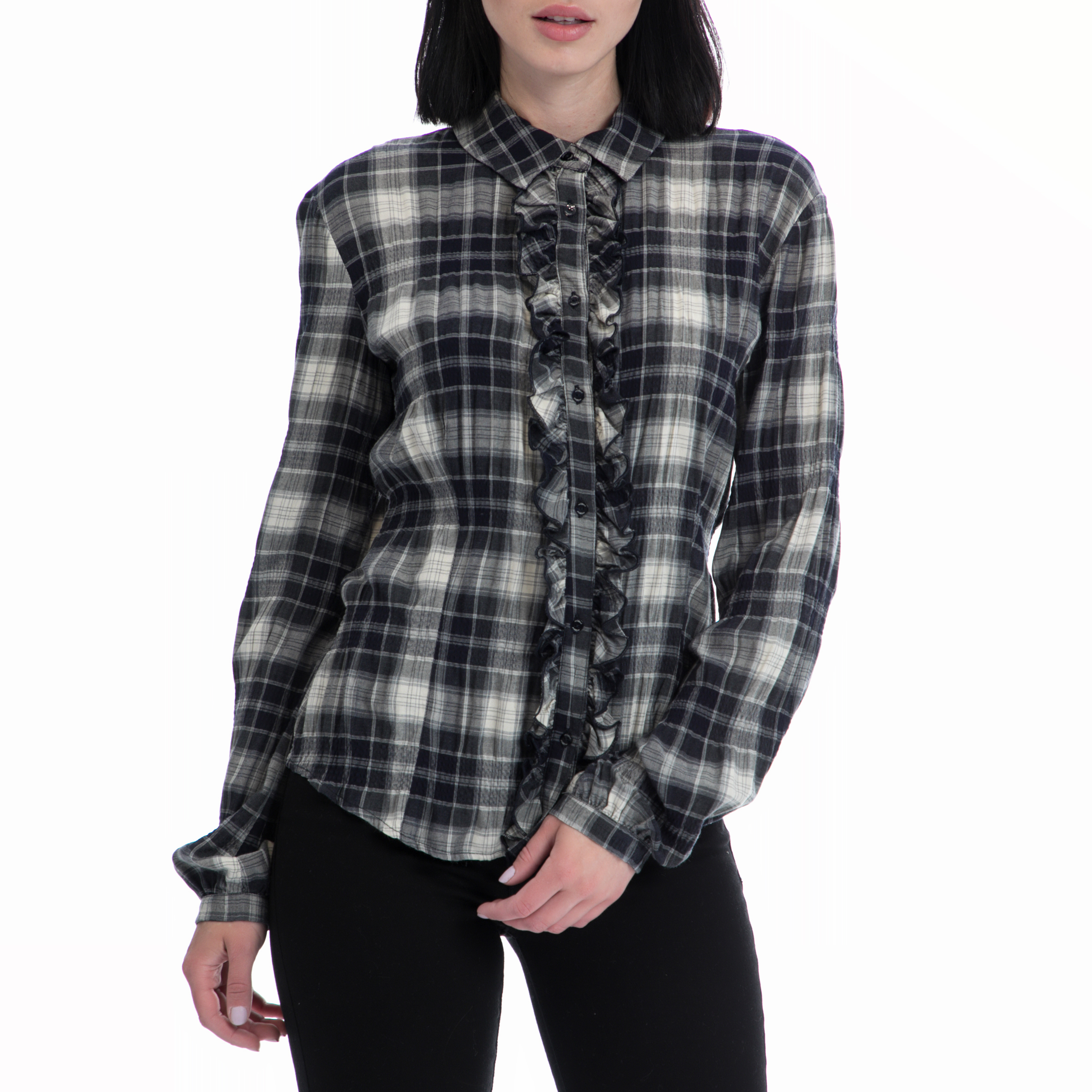 MOTIVI - Γυναικείο πουκάμισο MOTIVI γκρι-μαύρο γυναικεία ρούχα πουκάμισα μακρυμάνικα