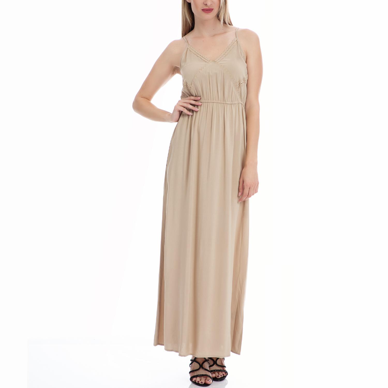 MOTIVI - Γυναικείο φόρεμα MOTIVI μπεζ γυναικεία ρούχα φορέματα μάξι