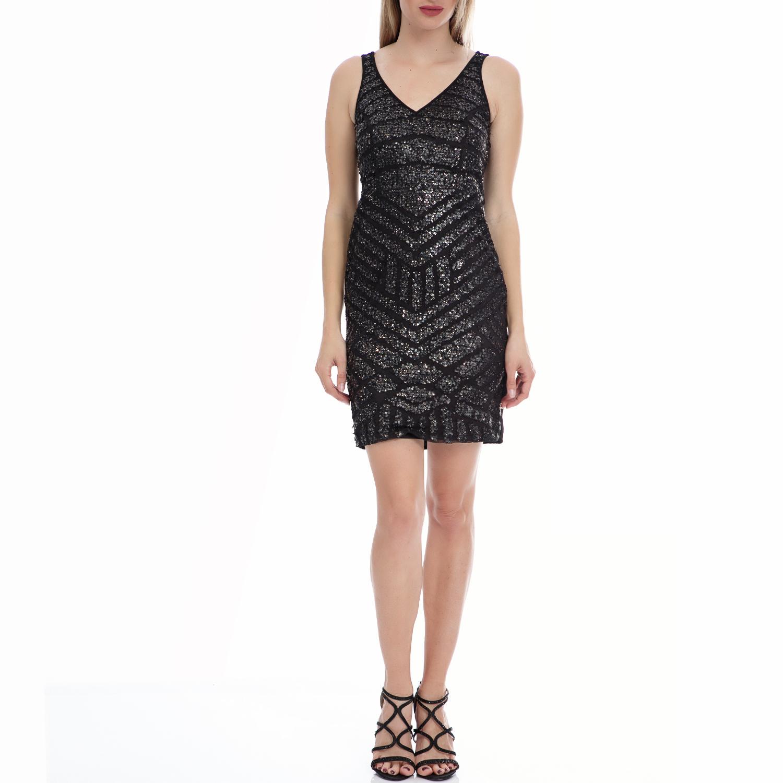 MOTIVI - Γυναικείο φόρεμα MOTIVI μαύρο-ανθρακί γυναικεία ρούχα φορέματα μίνι