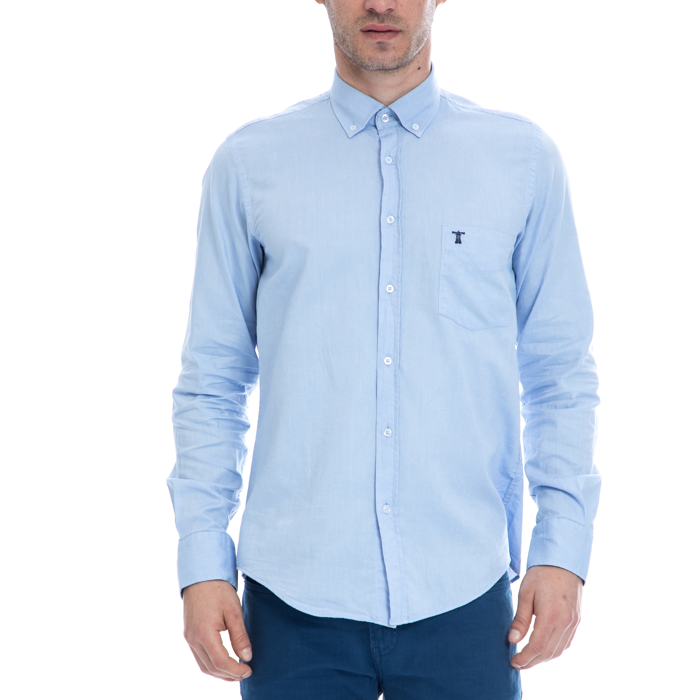 HAMPTONS - Ανδρικό πουκάμισο HAMPTONS γαλάζιο μακρυμάνικο