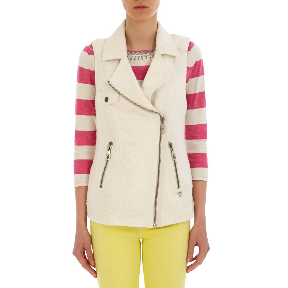 GUESS - Γυναικείο γιλέκο Guess λευκό γυναικεία ρούχα πανωφόρια