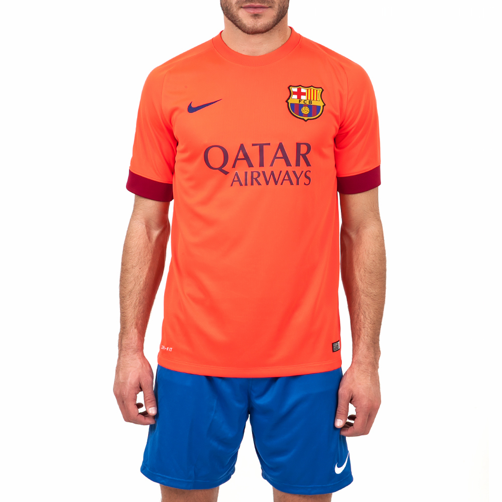 NIKE - Ανδρική μπλούζα NIKE FCB πορτοκαλί ανδρικά ρούχα αθλητικά t shirt