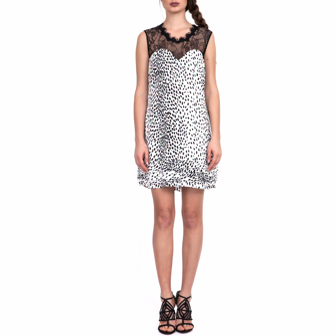GUESS - Γυναικείο φόρεμα GUESS λευκό-μαύρο γυναικεία ρούχα φορέματα μίνι