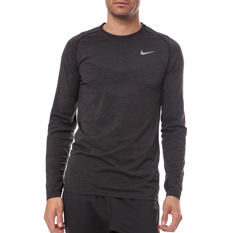 NIKE - Ανδρική μπλούζα Nike γκρι-μαύρη ανδρικά ρούχα αθλητικά φούτερ μακρυμάνικα