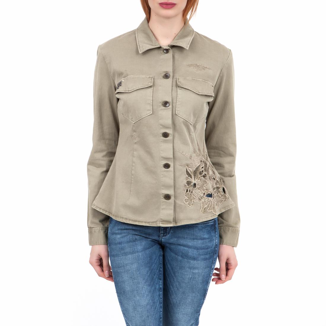 GUESS - Γυναικείο πουκάμισο GUESS χακί 6e2ac2f644c