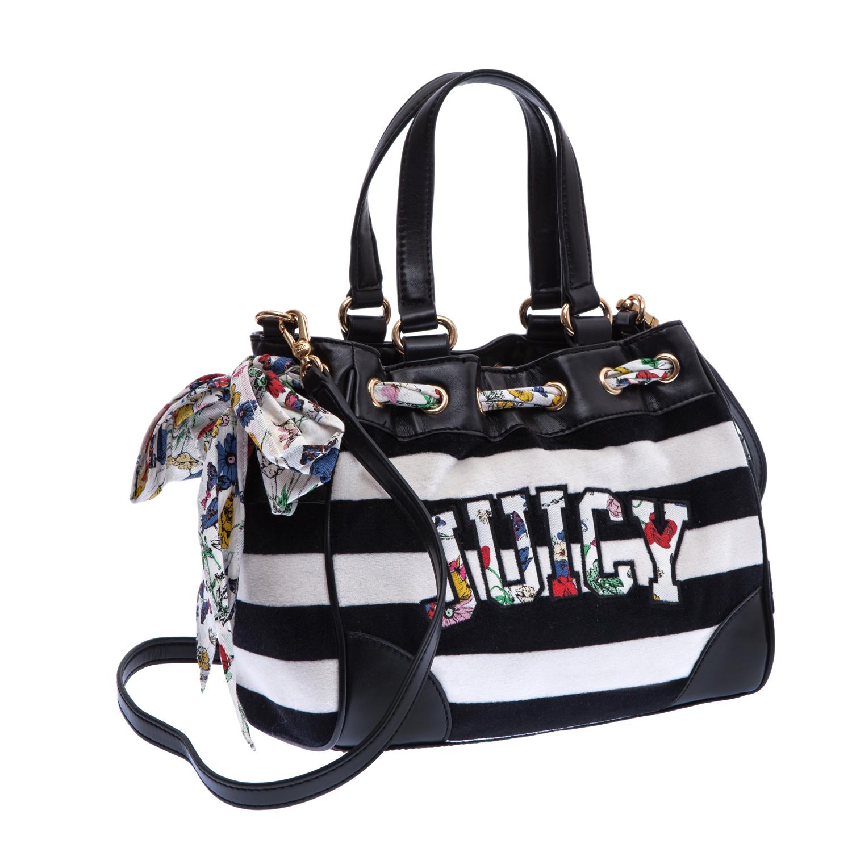JUICY COUTURE - Γυναικεία τσάντα Juicy Couture λευκή-μαύρη γυναικεία αξεσουάρ τσάντες σακίδια ωμου