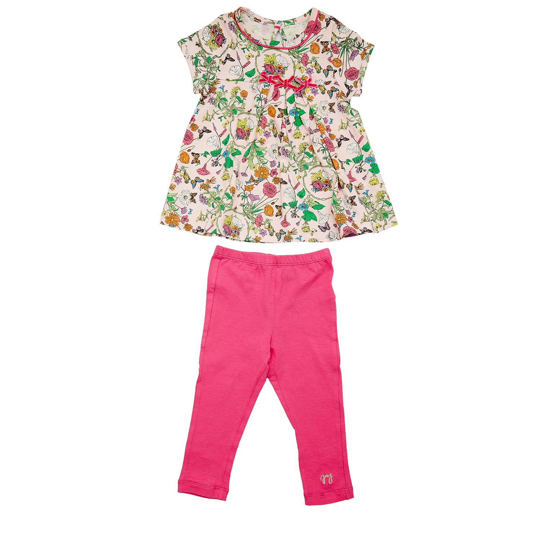 JUICY COUTURE KIDS – Βρεφικό σετ JUICY COUTURE μπεζ-φούξια